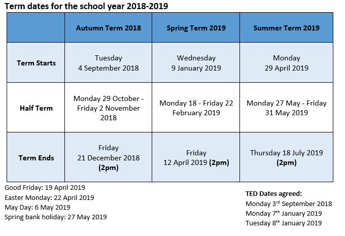 Term Dates for the school year 2018 – 2019 – Llangrove CE